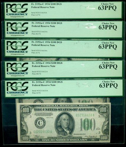 5 CU 1934 SERIES $100 FEDERAL RESERVE NOTES IN SEQUENCE. PCGS 63PPQ
