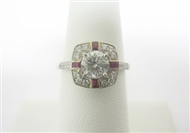 18K RUBY AND DIAMOND RING 1.42 C.T.W.
