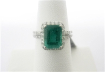 14K EMERALD AND DIAMOND RING 4.12 C.T.W.