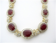 14K RUBY AND DIAMOND NECKLACE 41.15 C.T.W.