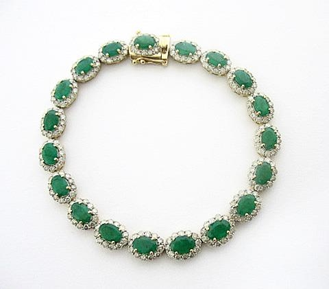 14K EMERALD AND DIAMOND BRACELET 12.94 C.T.W