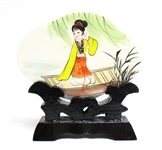 ASIAN STONE PAINTING WITH STAND