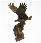 "SIGNED FRANKLIN MINT ""WINGS OF GLORY"" BRONZE STATUE BALD EAGLE"