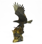 "SIGNED FRANKLIN MINT ""WINGS OF GLORY"" BALD EAGLE BRONZE STATUE"