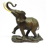 "FRANKLIN MINT BRONZE ""GIANT OF THE SERENGETI"" ELEPHANT STATUE"