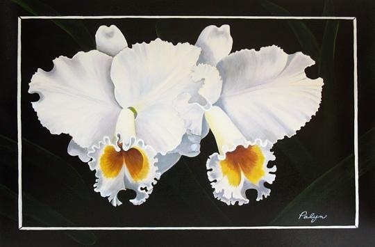 PALYN *** WHITE ORCHIDS *** HAND SIGNED MIXED MEDIA CANVAS