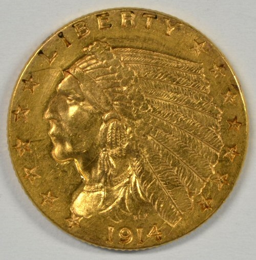 SCARCE NEAR MINT LOVELY 1914-P US $2.50 INDIAN GOLD PIECE
