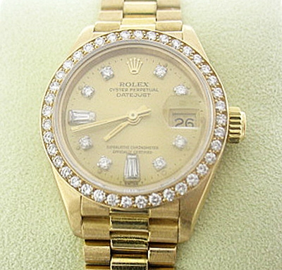ROLEX LADIES 18K PRESIDENT WITH ROLEX DIAMOND BEZEL AND DIAL, $36,7500.00