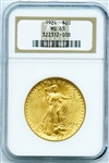 GEM BRILLIANT UNCIRCULATED 1924 SAINT GAUDENS $20 GOLD COIN MS65