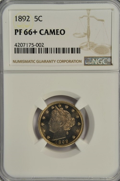 BREATHTAKING SUPERB GEM CAMEO PROOF 1892 LIBERTY HEAD V NICKEL. NGC PF66+ CAMEO