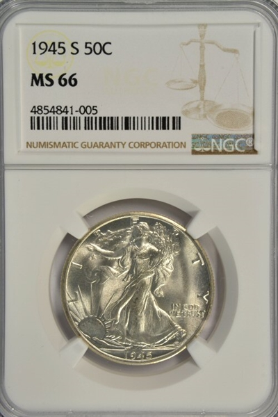 SENSATIONAL NGC MS66 GRADED 1945-S WALKING LIBERTY HALF DOLLAR