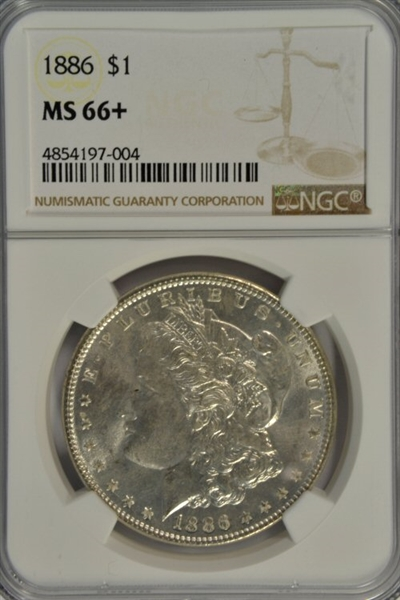 OUTSTANDING NGC MS66+ GRADED 1886 MORGAN SILVER DOLLAR