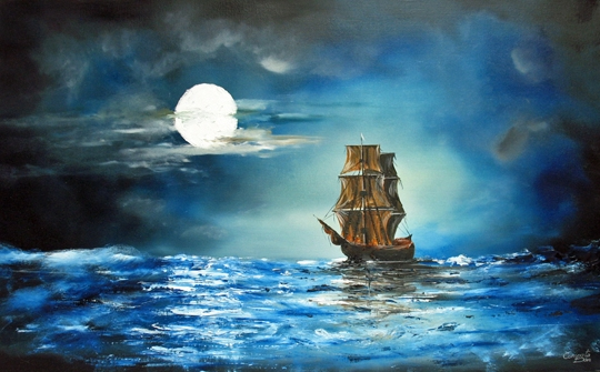 CUMPATA *** MIDNIGHT SAILING *** ORIGINAL SIGNED OIL PAINTING