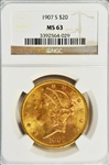 VERY SCARCE CHOICE BU 1907-S $20 LIBERTY GOLD PIECE. NGC MS63