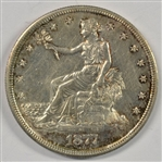 VIRTUAL MINT STATE 1877-S TRADE SILVER DOLLAR. AU58+