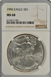 IMMACULATE GEM BU 1996 $1 SILVER EAGLE. KEY DATE IN NGC MS68