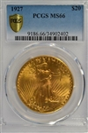 BREATHTAKING SUPERB GEM BU 1927 ST. GAUDENS $20 GOLD PIECE. PCGS MS66