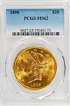 PREMIUM QUALITY BETTER DATE CHOICE BU 1895 $20 LIBERTY GOLD PIECE. PCGS MS63