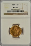 SUPER CHOICE BU SEMI-PROOFLIKE 1886-S $5 LIBERTY GOLD. NGC MS63