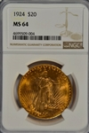 SUPER NICE BASICALLY GEM BU 1924 ST. GAUDENS $20 GOLD PIECE. NGC MS64