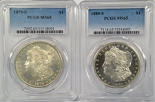 FLASHY PROOFLIKE PAIR OF S MINT MORGAN DOLLARS IN PCGS MS65 HOLDERS