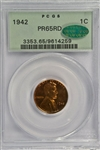 FULL RED 1942 GEM PROOF LINCOLN CENT. OLD PCGS PR65RD with CAC STICKER