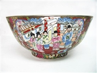 LARGE CHINESE FAMILLE ROSE LANDSCAPE BOWL WITH IMPERIAL FIGURES