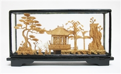 CHINESE CORK SCULPTURE ENCASED IN WOOD AND GLASS