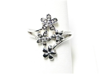 LONG, FLORAL STERLING SILVER RING WITH DIAMONDS