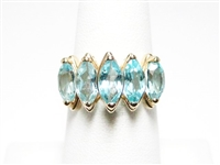 3 CT BLUE TOPAZ YELLOW GOLD RING
