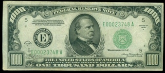 VERY NICE AU SERIES OF 1934-A $1000 FEDERAL RESERVE NOTE