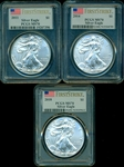 FLAWLESS TRIO OF $1 FIRST STRIKE SILVER EAGLES FROM 2011, 2014, & 2018. ALL PCGS MS70