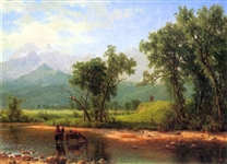 BIERSTADT ** WIND RIVER MOUNTAINS, LANDSCAPE IN WYOMING ** CANVAS