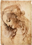 LEONARDO DA VINCI ** STUDY FOR THE FACE OF THE VIRGIN MARY OF THE ANNUNCIATION **