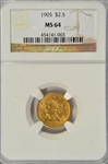 NEARLY GEM BU 1905 US $2.50 LIBERTY GOLD PIECE. NGC MS64