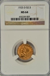 FABULOUS BASICALLY GEM BU 1925-D $2.50 INDIAN GOLD PIECE. NGC MS64