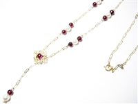 ANTIQUE STYLE GARNET & PEARL 14K YG NECKLACE