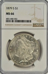 AWESOME NGC MS66 GRADED 1879-S MORGAN SILVER DOLLAR