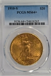 VERY SCARCE VIRTUAL GEM BU 1910-S ST. GAUDENS GOLD. PCGS MS64+