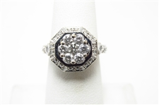 """EFFY"" 1 CT DIAMOND 14K WG HALO RING"