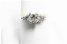 1.10 CT PRINCESS & ROUND DIAMOND CERTIFIED 14K RING