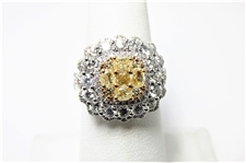 3.05 CT YELLOW & WHITE DIAMOND 18K ANTIQUE STYLED RING