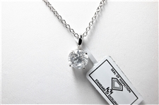 1.30 CT CERTIFIED DIAMOND 14K WG PENDANT & CHAIN