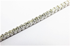 8.77 CT PRINCESS YELLOW DIAMOND 14K WG TENNIS BRACELET