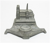 VINTAGE NOTRE DAME CATHEDRAL METAL INKWELL