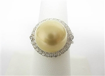 18K SOUTH SEA PEARL AND 1.34 C.T.W. DIAMOND RING