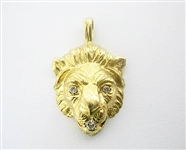 14K LION HEAD PENDANT WITH DIAMONDS
