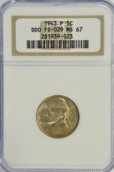 CONDITION RARITY SUPERB GEM BU 1943-P DOUBLE DIE OBVERSE (FS-029) SILVER JEFFERSON NICKEL. NGC MS67