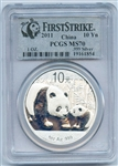 FLAWLESS 2011 FIRST STRIKE CHINESE 10 YN PANDA SILVER COIN