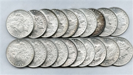 ROLL OF BRILLIANT UNCIRCULATED MORGAN SILVER DOLLARS